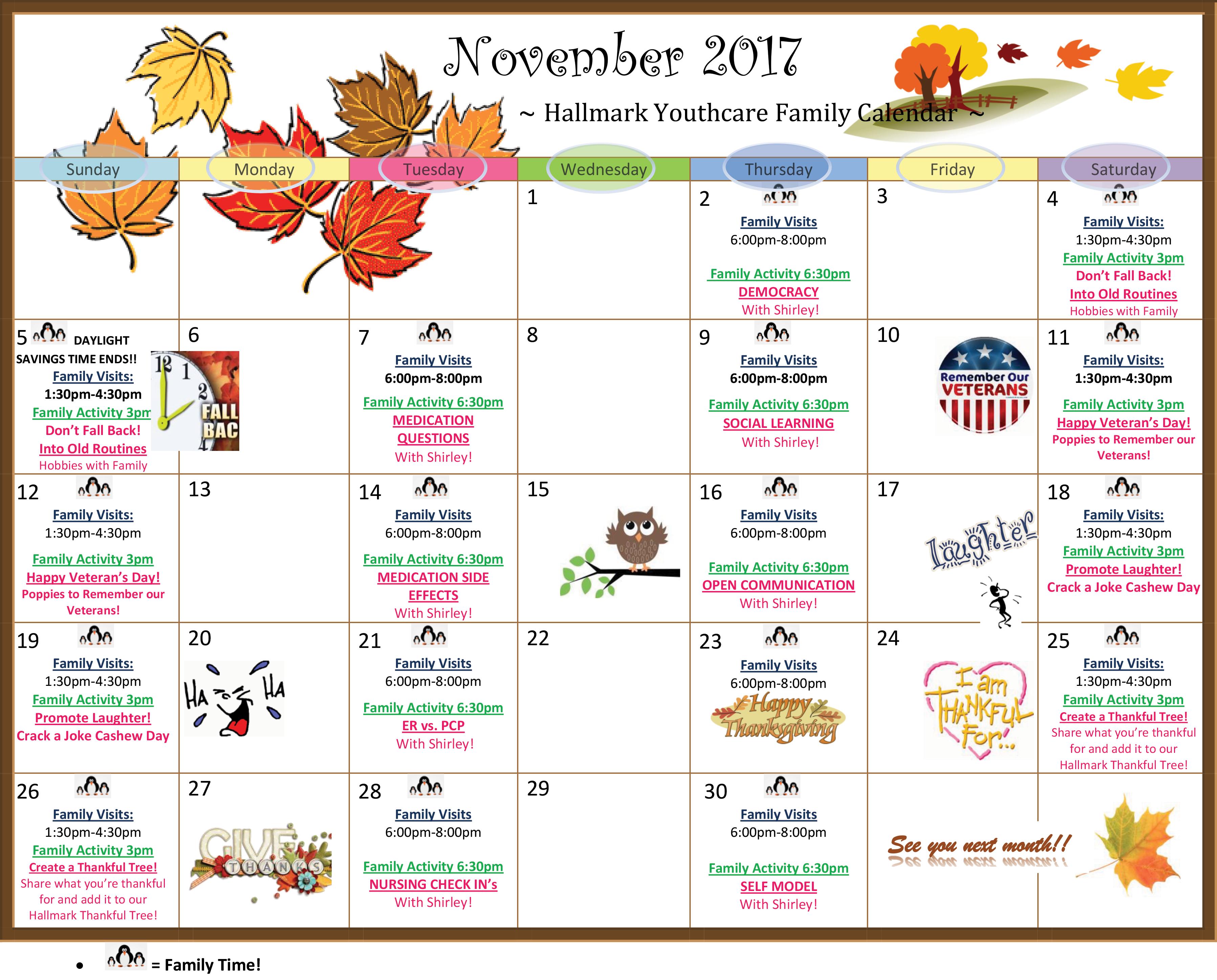 november 2018 calendar clipart