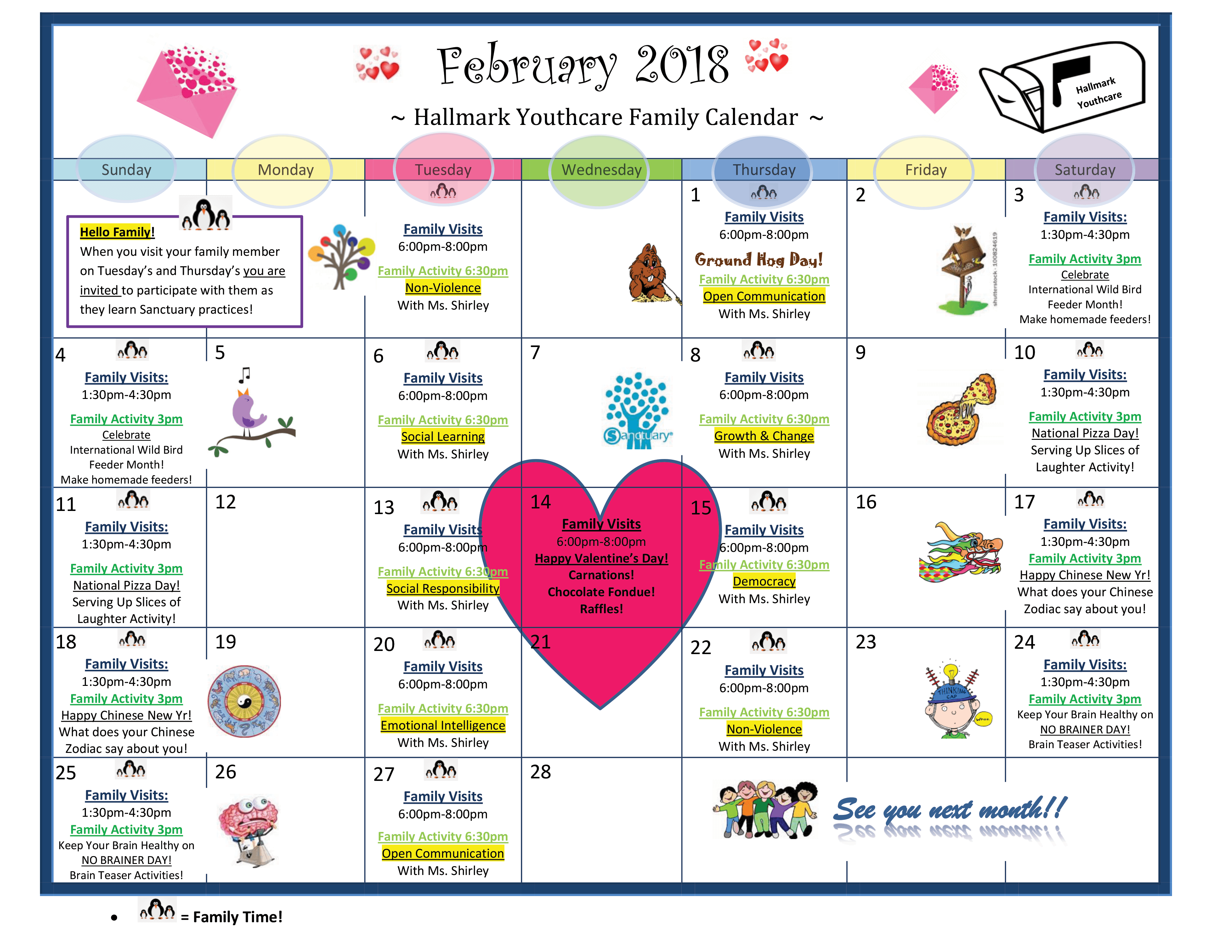 February 2018 Family Calendar | Hallmark Youth Care